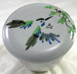 French Butter Dish with humming bird