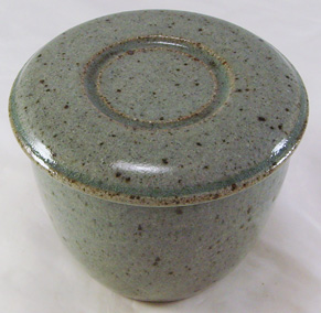 Stony Gray with green  French Butter Dish
